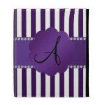 Monogram purple and white stripes iPad folio covers