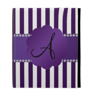 Monogram purple and white stripes iPad folio cases
