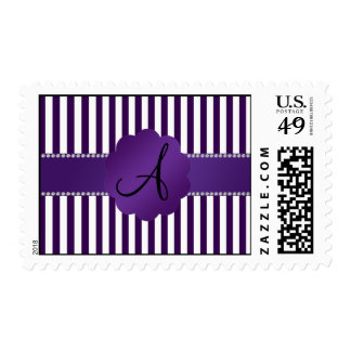 Monogram purple and white stripes stamp