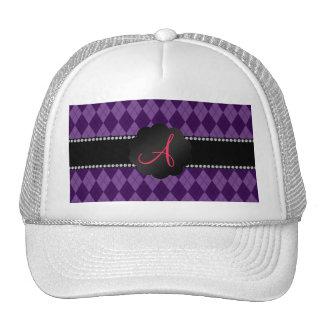 Monogram purple argyle hats