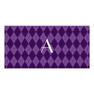 Monogram purple argyle photo card