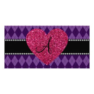 Monogram purple argyle pink heart photo card