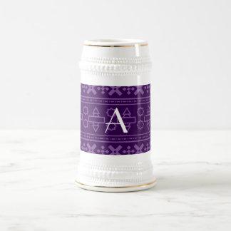 Monogram purple aztec pattern coffee mug