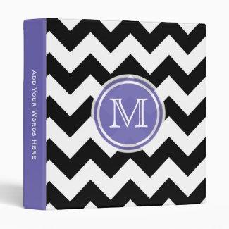 Monogram: Purple Black And White Chevron Binder