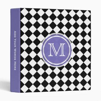 Monogram Purple Black And White Diamond Binder
