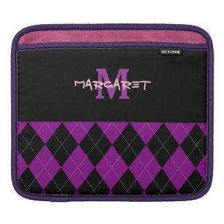 Monogram Purple Black Argyle iPad Sleeve