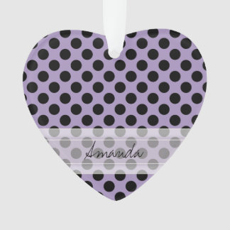 Monogram Purple Black Cute Chic Polka Dot Pattern