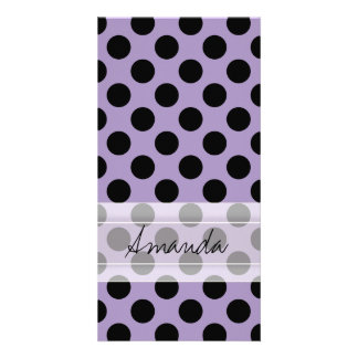 Monogram Purple Black Cute Chic Polka Dot Pattern Card