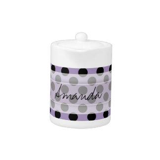 Monogram Purple Black Cute Chic Polka Dot Pattern Teapot
