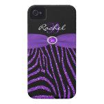 Monogram Purple, Black Glitter Zebra iPhone 4/4S Case-Mate iPhone 4 Cases