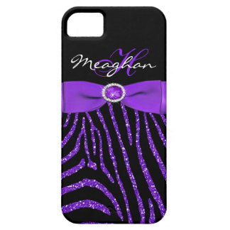 Monogram Purple, Black Glitter Zebra iPhone 5 Case