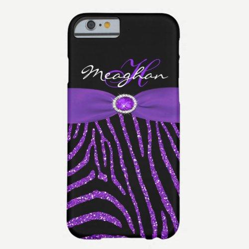 Monogram Purple, Black Glitter Zebra iPhone 6 case