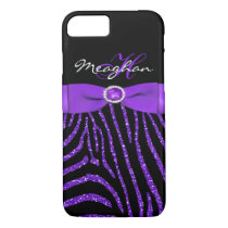 Monogram Purple, Black Glitter Zebra iPhone 7 Case
