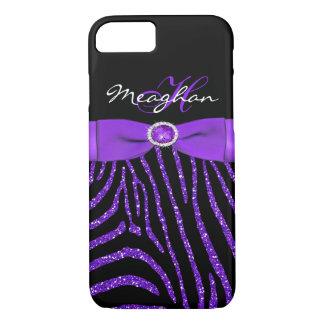 Monogram Purple, Black Glitter Zebra iPhone 7 Case