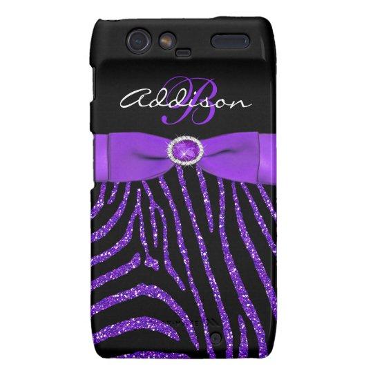 Monogram Purple, Black Glitter Zebra Motorola Razr Motorola Droid RAZR Case