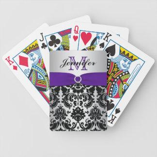 Monogram Purple Black Silver Damask Playing Cards