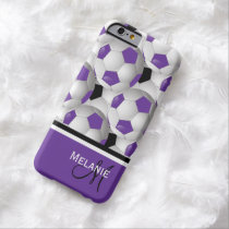 Monogram Purple Black Soccer Ball Pattern Barely There iPhone 6 Case