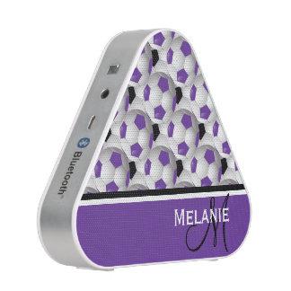 Monogram Purple Black Soccer Ball Pattern Bluetooth Speaker