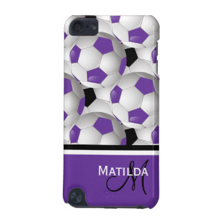 Monogram Purple Black Soccer Ball Pattern iPod Touch (5th Generation) Cases
