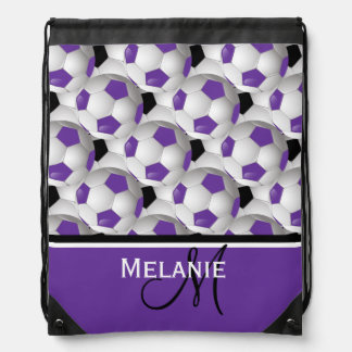 Monogram Purple Black Soccer Ball Pattern Drawstring Backpack