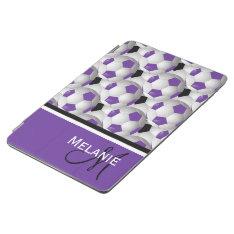 Monogram Purple Black Soccer Ball Pattern Ipad Air Cover at Zazzle