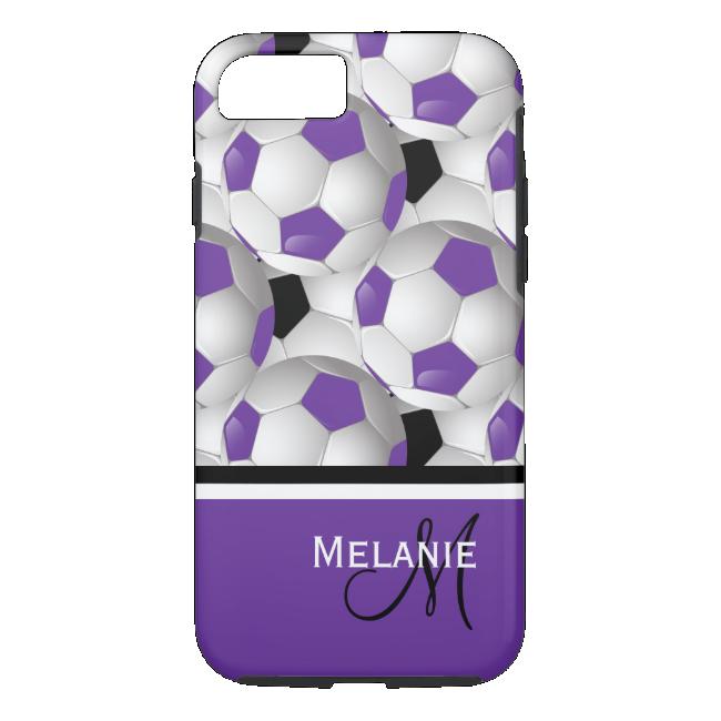 Monogram Purple Black Soccer Ball Pattern iPhone 7 Case