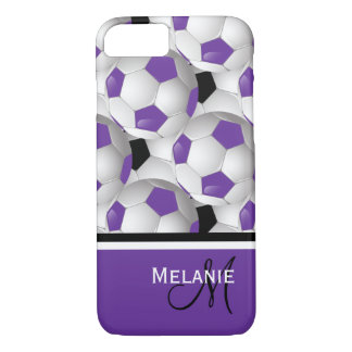 Monogram Purple Black Soccer Ball Pattern iPhone 7 Case