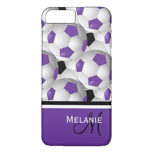 Monogram Purple Black Soccer Ball Pattern iPhone 7 Plus Case