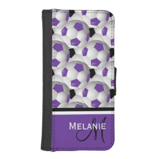 Monogram Purple Black Soccer Ball Pattern iPhone SE/5/5s Wallet Case
