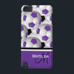 "Monogram Purple Black Soccer Ball Pattern iPod Touch (5th Generation) Cover<br><div class=""desc"">Add your monogram initial and name to this eye-catching and stylish football soccer ball design featuring a pattern of black and white and purple and white soccer balls with accents in coordinating purple, black and white. Other color combinations are available in our store and we welcome custom requests, just contact...</div>"