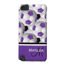 Monogram Purple Black Soccer Ball Pattern Ipod Touch (5th Generation) Cover at Zazzle
