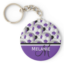 Monogram Purple Black Soccer Ball Pattern Keychain