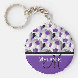 Monogram Purple Black Soccer Ball Pattern Keychain