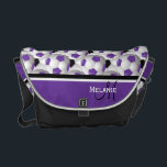 """Monogram Purple Black Soccer Ball Pattern Messenger Bag<br><div class=""""desc"""">Add your monogram initial and name to this eye-catching and stylish football soccer ball design featuring a pattern of black and white and purple and white soccer balls with accents in coordinating purple, black and white. Other color combinations are available in our store and we welcome custom requests, just contact...</div>"""