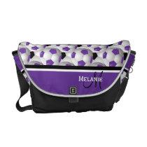 Monogram Purple Black Soccer Ball Pattern Messenger Bag