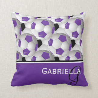 Monogram Purple Black Soccer Ball Pattern Throw Pillow