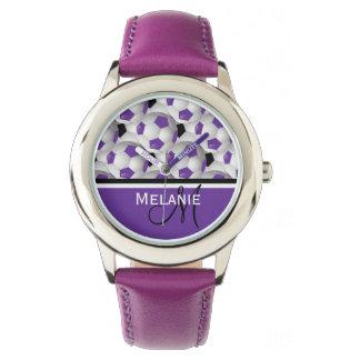 Monogram Purple Black Soccer Ball Pattern Watch