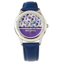 Monogram Purple Black Soccer Ball Pattern Wristwatch