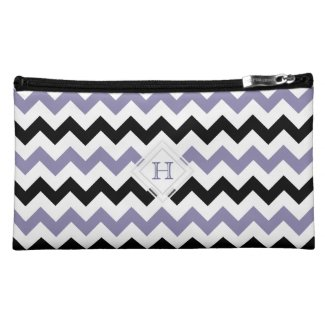 Monogram: Purple, Black, White Chevron Pattern Bag Makeup Bags