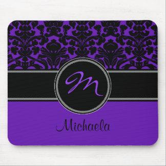 Monogram Purple Black White Damask Mousepad