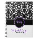 Monogram Purple Black White Damask Wedding Planner Journals