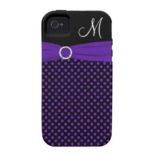 Monogram Purple Black White Polka Dot Vibe iPhone4 Vibe iPhone 4 Cases