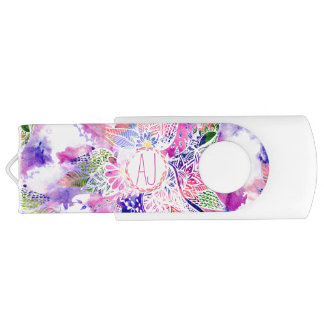 Monogram purple blue watercolor abstract floral flash drive