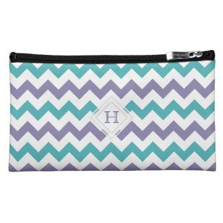 Monogram: Purple, Blue, White Chevron Pattern Bag Cosmetic Bags