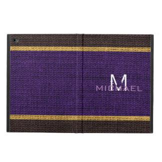 Monogram Purple Burlap Linen Rustic Jute Powis iPad Air 2 Case