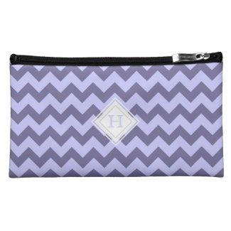 Monogram: Purple Chevron Pattern Bag Cosmetic Bags