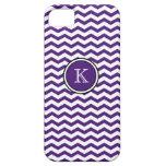 Monogram Purple Chevron Stripes iPhone 5 Case