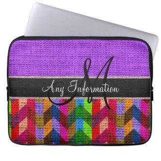 Monogram Purple Chevron Zigzag Burlap Jute Computer Sleeve