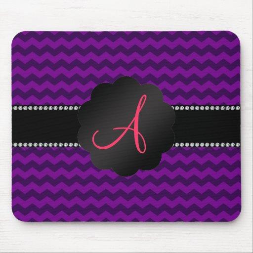 Monogram purple chevrons mouse pad