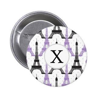Monogram Purple Chic Eiffel Tower Pattern 2 Inch Round Button